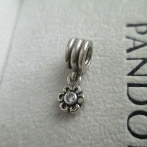 "Pandora Charm ""Dangling Daisy"" Flower cz"
